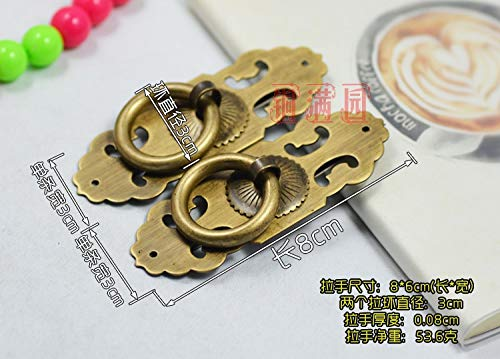 Kasuki High-grade Special offer Chinese antique decoration Pure brass handle Door Handle 8cm straight hollow flower handle wholesale