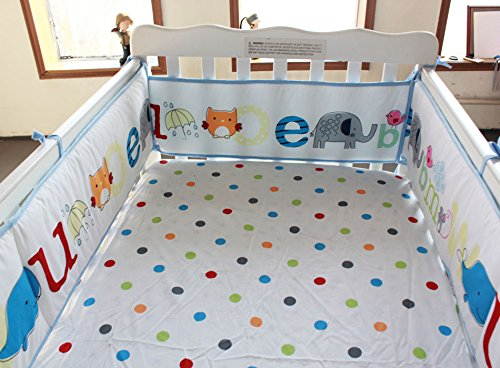 NAUGHTYBOSS Baby Bedding Set Cotton Early Education 3D Embroidery Letter Elephant Quilt Bumper Mattress Cover Blanket 8 Pieces Blue by NAUGHTYBOSS (Image #7)