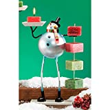 CC Home Furnishings Pack of 4 Metal Table Top Christmas Snowman Candle on Rope Holders 10''