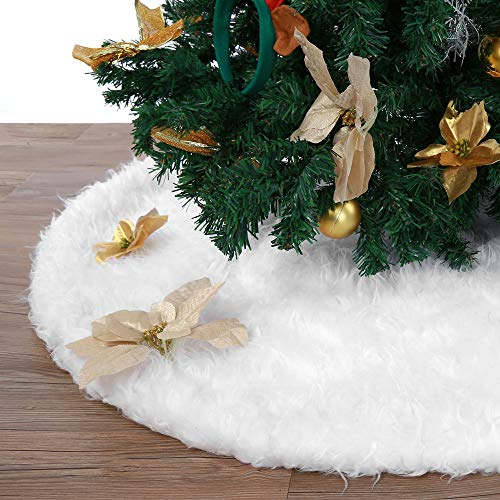 DJT 48 inches Christmas Tree Skirt Snowy White Tree Skirt for Xmas Decorations (Christmas Decorations Snowy)