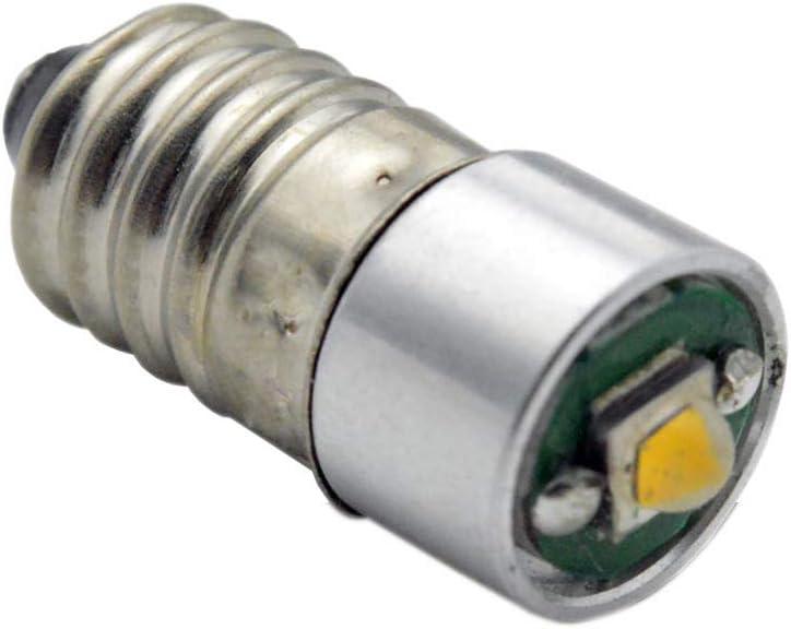 Ruiandsion - Bombilla LED E10 DC 5-24 V 3 W 3000 K luz blanca cálida 200 lm CREE LED para linterna linterna linterna faro delantero, tierra negativa (paquete de 1)