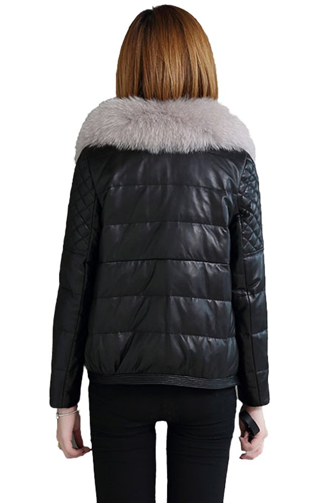queenshiny Queeenshiny New Women's Sheep Leather Coat with Fox Fur Collar Black XS(0-2) by Queenshiny (Image #2)