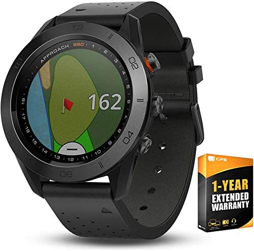 Garmin Approach S60 Golf Watch Premium Black Ceramic Bezel with Black Leather Band 010-01702-03 with 1 Year Extended Warranty