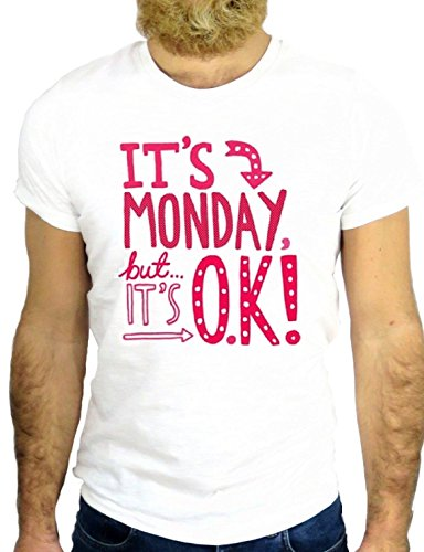 T SHIRT JODE Z2441 IT'S MONDAY BUT IT'S OK LOVE ROCK WORK USA AMERICA VINTAGE UK GGG24 BIANCA - WHITE M