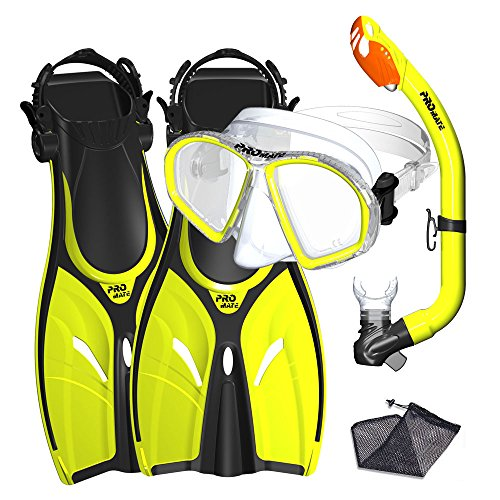 (Promate Junior Mask Fins Snorkel Set for Kids, Yellow,)