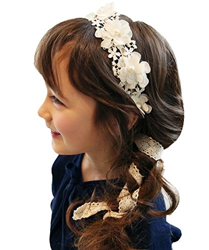 KoKoHouse Flower Girl Headband Lace Hairband Pearl Flower Headbands Hair Accessories Bobby Pins (One size, Ivory)