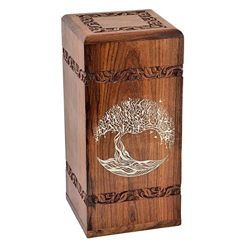 "Fine Craft India Solid Hand Carved Fine Natural Wood with Border Design - Adult (Large Wooden Urn) Height: 12"" Length: 6"" Width: 6"""