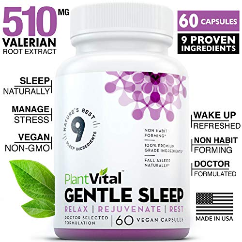 (NEW! Sleeping Pills For Adults [EXTRA STRENGTH] Herbal Sleep Aid w Valerian Root, Melatonin, Chamomile, GABA, Lemon Balm. 60 All Natural Non-Habit Forming Vegan Capsules For Men & Women. Aids Insomnia)