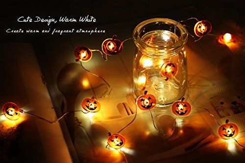 MoKo Pumpkin String Light with Remote and Timer, 7.8ft 20 LED Battery Powered Fairy Light with 8 Lighting Modes, 12…