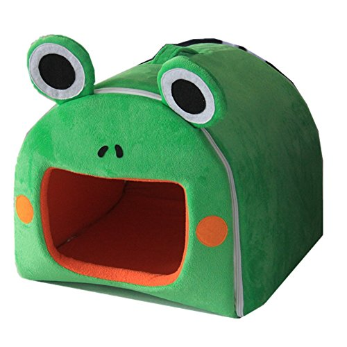 WOWOWMEOW Foldable Pet Warm Cave House Bed for Hamsters, Guinea Pigs and Rabbits (M, Green)