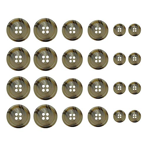 ButtonMode Faux Buffalo Horn Outer Coat Topcoat Buttons 24pc Set has 8 Coat Front Buttons x 22mm (7/8 in), 8 Sleeve Buttons x 20mm (13/16 in), 8 Trim Buttons x 15mm (9/16 in), Dark Tan, 24-Buttons ()