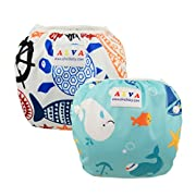 ALVABABY Swim Diapers Large Size 2pcs Pack One Size Reuseable &Adjustable 0-36 mo.Size 18-55lbs ZDYK05-06