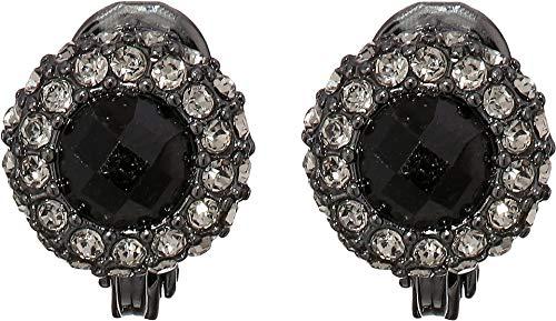 LAUREN Ralph Lauren Women's Clip Pave Button Earrings Jet One ()