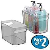 mDesign Bath Storage Bin for Conditioners, Body Wash - Pack of 2, Smoke