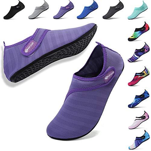 VIFUUR Mens Womens Water Socks Quick Dry Barefoot Beach Pool Swim Diving Surf Aqua Shoes Purple Strap 38/39