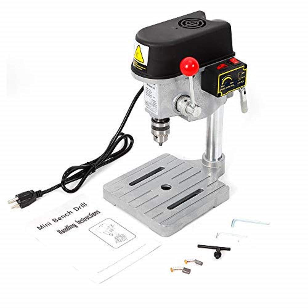 WUPYI Benchtop Drill Press,3-Speed Drill Press Workbench Mini Compact Drill Wood Drilling Machine Mounted Drilling Chuck,340W 16000RPM