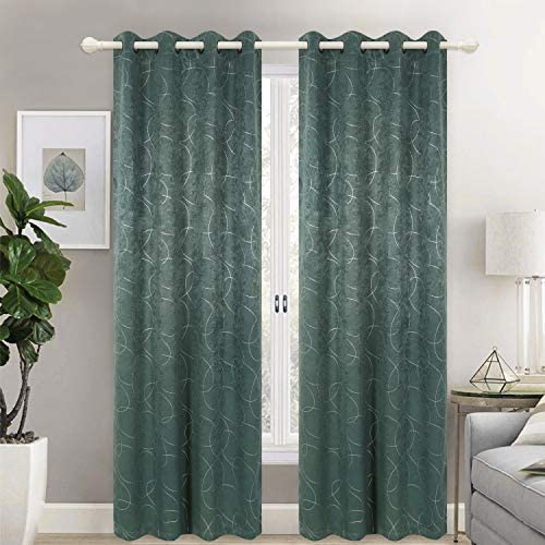HEJEME Room Darkening Curtains 84 Inch Foil Printed Velvet Blackout Curtain for Living Room Panels with Geometric Circle Pattern – Grommet Drapes for Bedroom and Dining Room, Set of 2 Panels Teal