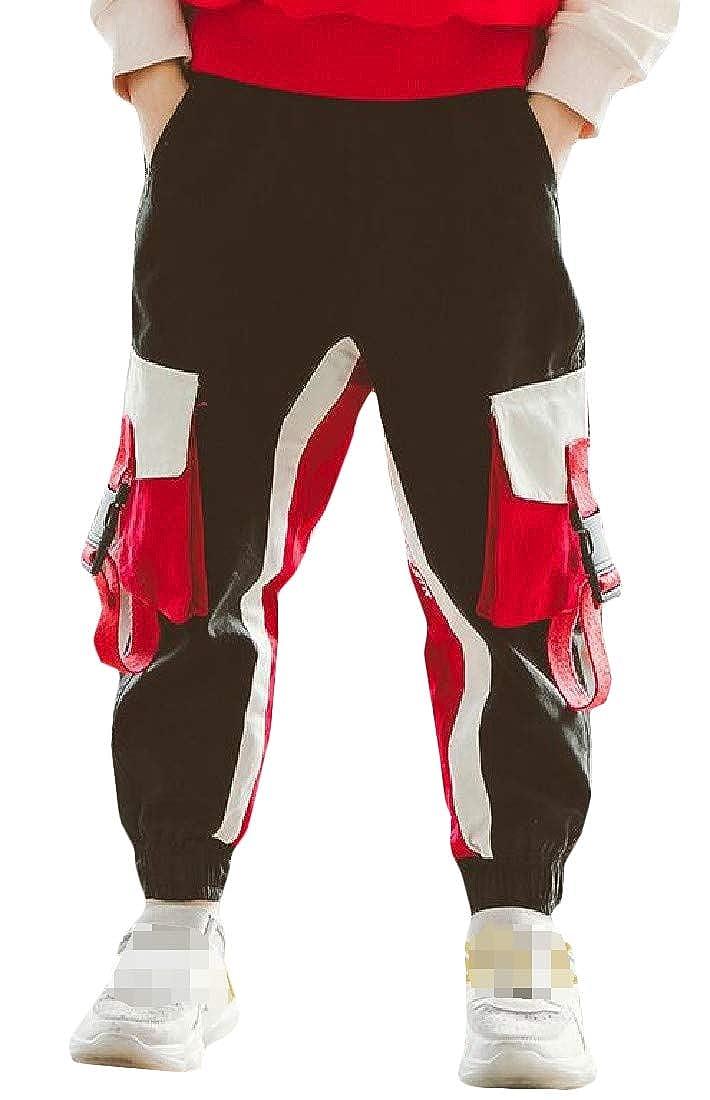 Hajotrawa Little Kids Boy Hippie Elastic Waist Multiple Pockets Sweatpants Jogger Pants