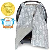 2 in 1 Carseat Canopy and Nursing Cover Up with Peekaboo Opening | Large Infant Car Seat Canopy for Boy or Girl | Best Baby Shower Gift for Breastfeeding Moms | Arrow Pattern with Grey Minky