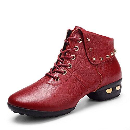 SQIAO-X- Scarpe da ballo di gomma di cotone la piattina di messa a terra piatta con pelle, Adulti danza latino Square Dance Professional scarpe da ballo, rosso scarpe singolo 36