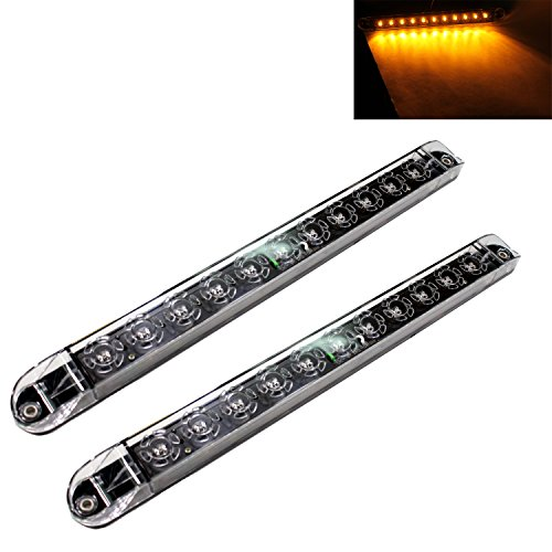 2 Clear Amber 17 Sealed LED Waterproof Submersible Turn Tail Clearance Marker Identification Truck Trailer Light Bars