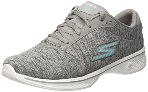 Go Skechers Performance Blue up Walking Walk Shoe 4 Lace Women's Gray 66Eqn1