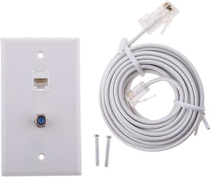 Baoblaze - Cable Coaxial de Red Ethernet (Conector F, Conector RJ45, Conector Coaxial, RJ11/6P4C a RJ45/8P4C, Cable de Módem para conectar la Línea telefónica a la Internet): Amazon.es: Electrónica