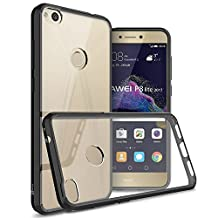 Huawei P8 Lite Case (2017 Version), CoverON® [ClearGuard Series] Hard Clear Back Cover with Flexible TPU Bumpers Slim Fit Phone Cover Case for Huawei P8 Lite (2017 Version) - Black / Clear