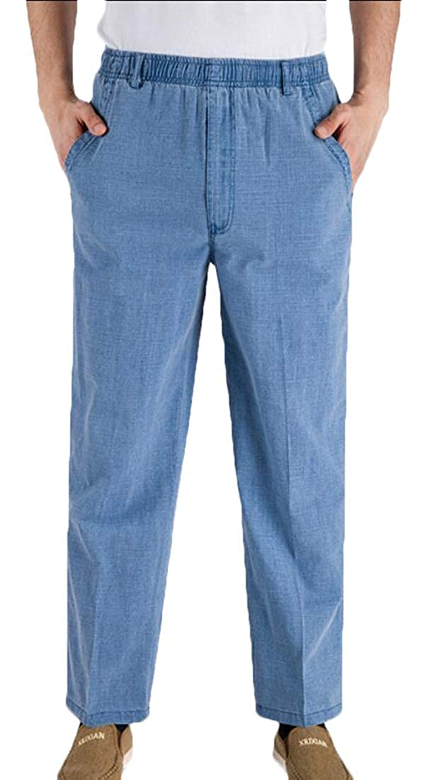 mydeshop Mens Full Elastic Waist Lightweight Cotton Line Workwear Pants