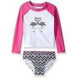 Nautica Big Girls' Fashion Rashguard Swim Suit Set with Upf 50+ Sun Protection, Medium Pink Colorblock, 10