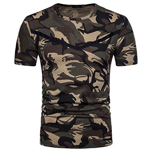 Suzul_Men's Fashion Serzul Men Casual Camouflage Print O Neck Pullover Short T-Shirt Top Blouse (L, Camouflage) from Suzul_Men's Fashion