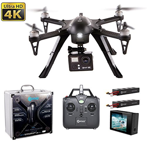 BLACK FRIDAY DEAL! Contixo F17+ RC Quadcopter Photography Drone 4K Ultra HD Camera 16MP, Brushless Motors, 2 High Capacity Batteries, Supports GoPro Hero Cameras, Aluminum Hard Case