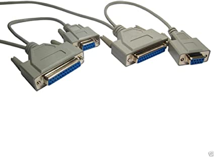 Serial Null Modem Cable 9 Pin to 25 Pin Female 2m