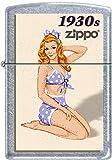 Zippo Windy Vintage Nose Art Blue Bikini Pinup 1930 Era Satin Chrome Lighter