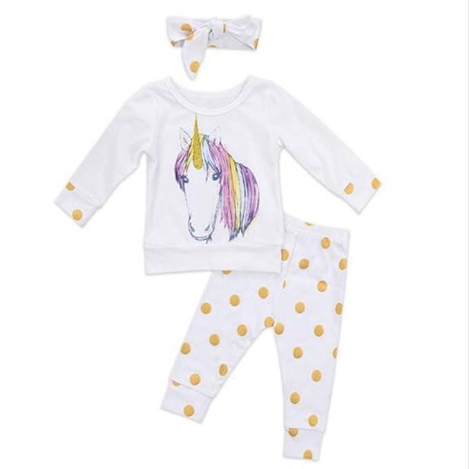 beiguoxia Bebé recién nacido Unicorn Top + pantalones largos + ...
