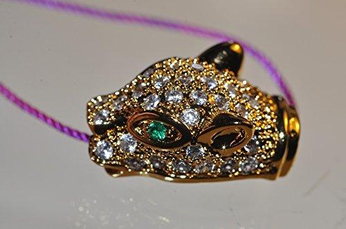 • Bella-gems • 10x17x7mm Excellent Quality & Design~18K Gold Plated PANTHER Leopard Head CZ Micropavé Diamond/Cubic Zirconia Charm - G1112