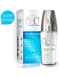Hyaluronic Acid Vitamin C Facial Serum - Strong - 180 Cosmetics - Face Lift Skin Serum for Face and Eyes - Pure Hyaluronic Acid For Immediate Results - Hydrating - Anti Aging - Wrinkles and Fine Lines