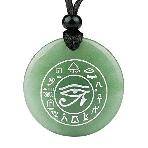 Tous les voir et de Sentiment œil de HORUS égyptien Amulette Vert à quartz Magic Cirlce spirituel Pendentif Collier