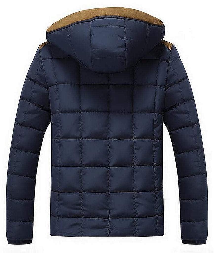 ARTFFEL Mens Fleece Lined Hooded Thicken Winter Down Quilted Coat Jacket Outwear