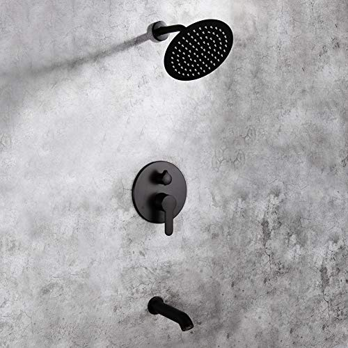 Matte Black Shower Faucet Set with Tub Spout Bathroom Luxury Rain Mixer Shower System Wall Mounted 8 inch Rainfall Shower Combo Set, Single Functions Tub and Shower Trim Kit with Rough-in Valve ()