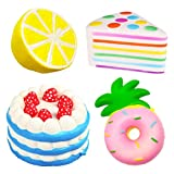 Huastyle 4Pcs Jumbo Squishies Slow Rising Strawberry Cake,Lemon,Rainbow Cake,Pineapple Donut Kawii Cream Scented Soft Squeeze Toys Fruit Bread Squishy for Kids Party Collection