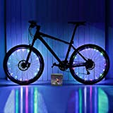 Xyemao Led Bike Wheel Lights, (2 Tire Pack) Waterproof Bright Bicycle Light Strip, Ultimate Safety & Style Lights, Cool Kids Bike Accessories, 3 AA Battery(Include), Rainbow