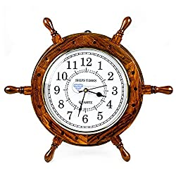 Nautical Moon Light Blue Large Wooden Ship Wheel With Ship's Time Captain's Clock - Pirate Home Decorative Clock - Nagina International (24 Inches, White Dial Face)