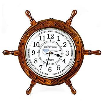 Nagina International Nautical Moon Light Blue Large Wooden Ship Wheel with Ships Time Captains Clock - Pirate Home Decorative Clock (16 Inches, White Dial Face)