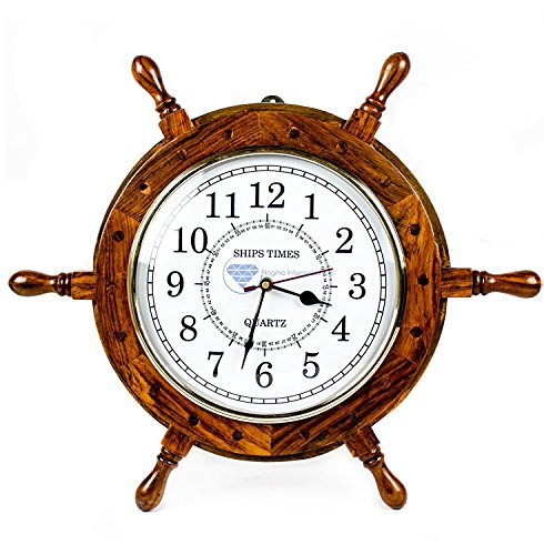 Nagina International Nautical Moon Light Blue Large Wooden Ship Wheel with Ship's Time Captain's Clock - Pirate Home Decorative Clock (18 Inches, White Dial Face)