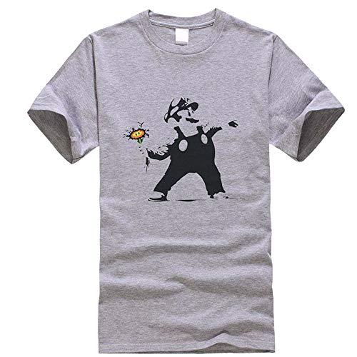 Stampate Corta Per Allentato Uomo E Casual Donne Mario Super Popolare Grey Manica T Girocollo Unisex shirt Maglietta 6wP40qx