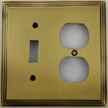 Deco Step Style Antique Brass 2 Gang Wall Plate 1 Toggle Switch 1 Duplex Outlet Switch And Outlet Plates