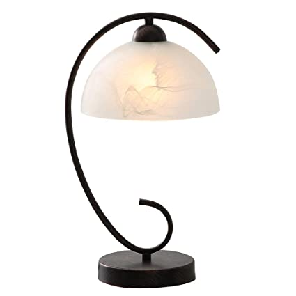 Horisun Nightstand Table Lamp Retro Style Metal Stents Desk Lamps With Glass Shade Bedside Table Lamps For Bookcase Bedroom Living Room