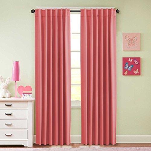 H.Versailtex Back Tab / Rod Pocket Thermal Insulated Blackout Curtains for Baby Girls Room / Energy Saving Window