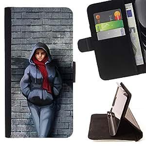 Momo Phone Case / Flip Funda de Cuero Case Cover - Pared de ladrillo de la bufanda de invierno Outfit Ciudad muchacha del estilo - Samsung Galaxy E5 E500